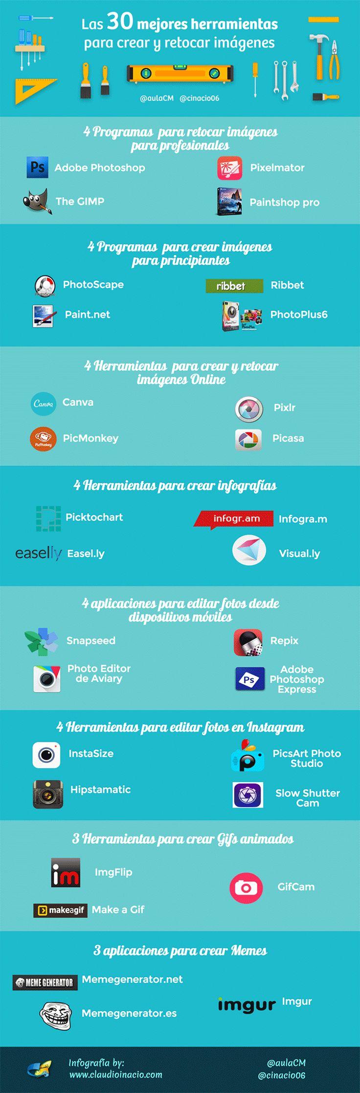 30 herramientas para crear y retocar imágenes #infografia #infographic #design