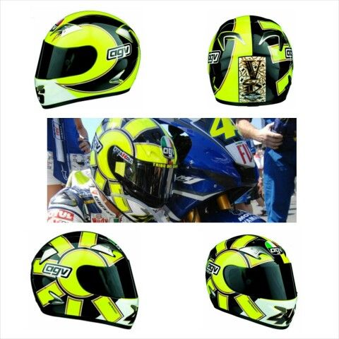 AGV Gothic Helmet (Yellow)2006. One of Valentino Rossi's most used helmet designs during the 2006 and 2007 seasons of MotoGP was the Aldo Drudi designed AGV Gothic helmet. The Gothic design is a simple, bold, and striking paint job that heavily features Rossi's two most popular recurring themes - the Sun, and the Moon.  The Gothic design been used previously and had been seen in different colour schemes in 2006 (see Gothic Black, and Gothic White), but it was the Gothic Yellow that was was…