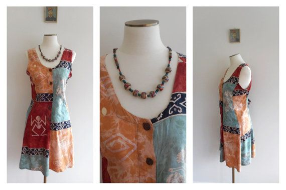 Vintage 90s ETHNIC BALINESE Sun Dress // Rayon Tribal Earthy