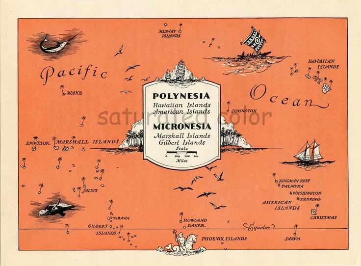 Marshall Islands - Gilbert Islands - Hawaiian Islands - American Islands - ORIGINAL 1940s Vintage Map - tangerine tango - charming & fun. $29.00, via Etsy.