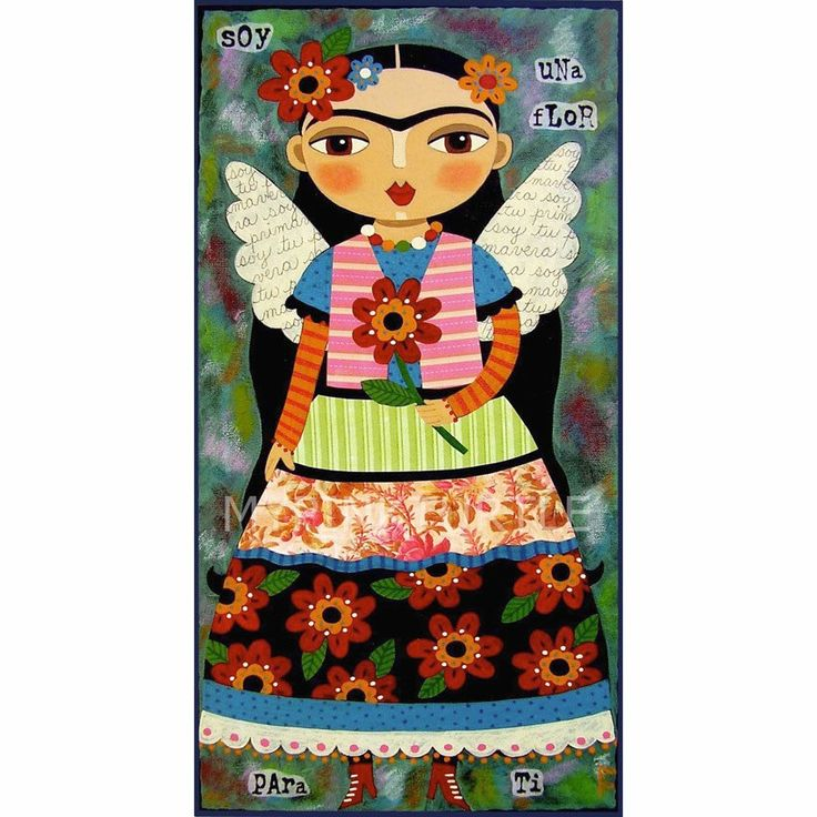 Frida Kahlo Angel With Red Flower 5x10 Print Of Painting By LuLu Mypinkturtle At LuLuMypinkturtleArt On