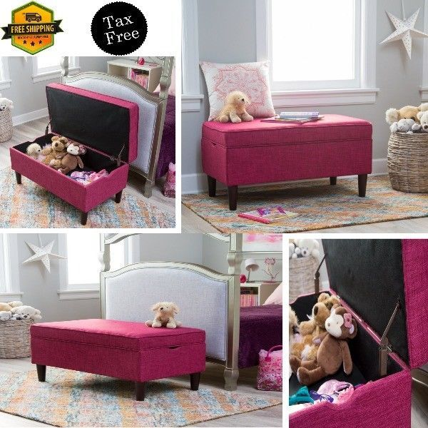 storage bench for kids bedroom new pink safety hinges