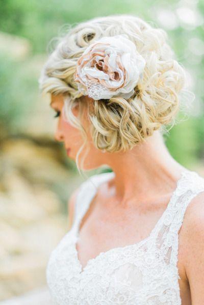Rustic lace flower wedding hair: http://www.stylemepretty.com/georgia-weddings/2014/10/13/rustic-elegant-georgia-wedding-at-indigo-falls/ | Photography: Rustic White - http://www.rusticwhite.com/
