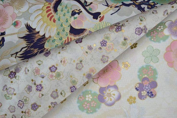 Lot de 3 coupons de Tissus Patchwork Japonais ivoire 24x55cm