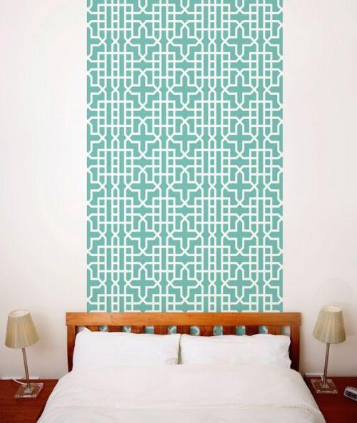Teal Geometric Wallpaper Tiles Wall Decals Deco