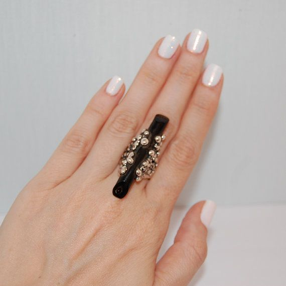 Black coral ring Silve ring Handmade ring Bubbles ring by kreitto