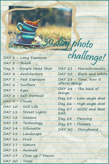 30 days challenge to grow as a photographer as well as establish a daily workflow.