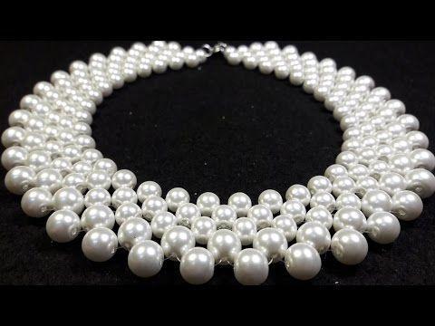Como hacer un Collar Elegante con Perlas : Pekas Creaciones - YouTube