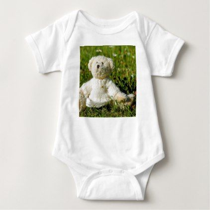 Plush Teddy Bear in the Garden Baby Bodysuit - girly gift gifts ideas cyo diy special unique