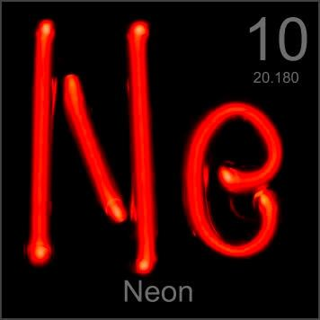 Neon signs really are made with neon, like this Ne-shaped tube filled with this inert gas. A high voltage transformer sends an electric current through the tube, creating a characteristic bright neon-red arc.