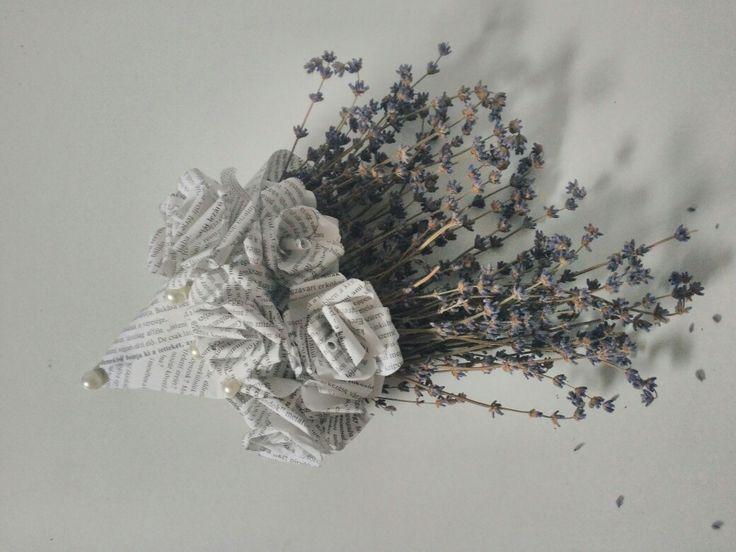 Paper cone bouquet #diy #lavender