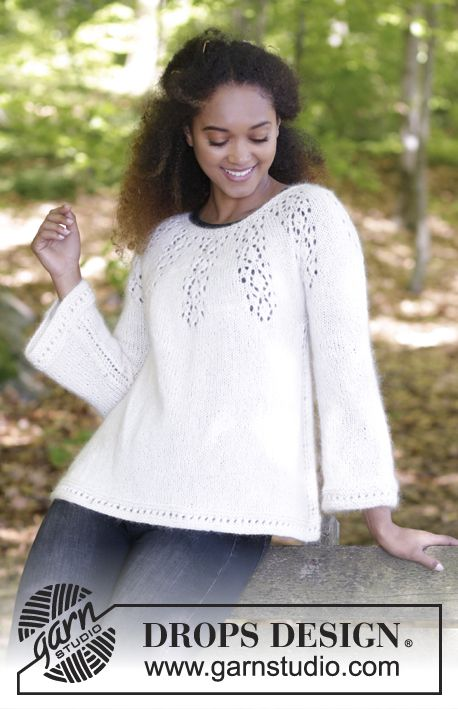 Jumper with round yoke, lace pattern and A-shape, knitted top down. Size: S - XXXL Piece is worked in DROPS Baby Merino and DROPS Kid-Silk. Free pattern by DROPS Design.