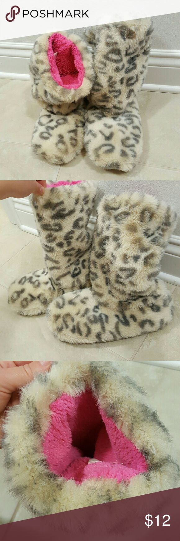 Animal print fuzzy slippers Super cute and fuzzy slipper booties great for winter.  New without tags! Shoes Slippers