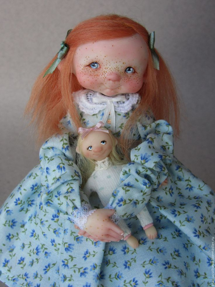 """Купить """"Абби"""" - голубой, коллекционная кукла, авторская кукла, куклы ксении зайцевой, маленькая кукла"""