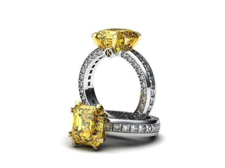 Představuji vám nový luxusní prsten osazený velkým žlutým diamantem. Parametry kamenu jsou: 4.60 carat, Fancy Vivid Yellow, Radiant Shape, VVS1 Clarity.