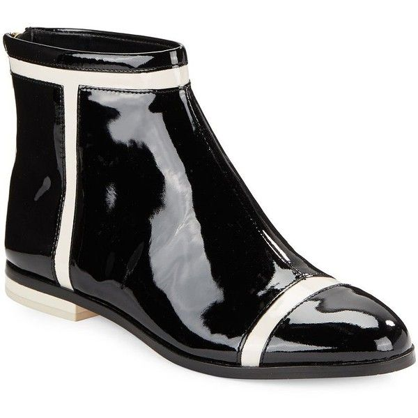 Calvin Klein Cari Patent Leather Ankle Boots ($85) ❤ liked on Polyvore featuring shoes, boots, ankle booties, black, black ankle booties, bootie boots, short black boots, black patent leather boots and black patent leather booties