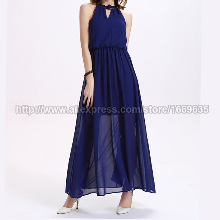 Find More Dresses Information about Women's Blue Cute Casual Pleated Halter Long Dresses Elegant Sundress Sleeveless Chiffon Party Beach Tank Ankle Length Dress,High Quality party dress wear,China party wallet Suppliers, Cheap party mini dress from Riky_mall on Aliexpress.com