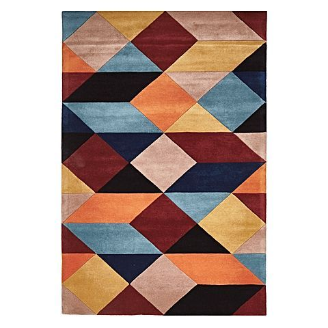 Intensify the colour palette of your space with the contrast in the pattern of the Modern Geo Wool Rug, Sunrise from Rug Culture.