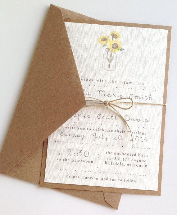 Rustic Sunflower Wedding Invitations by LemonInvitations on Etsy