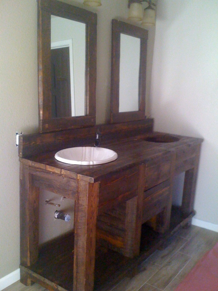 17 best images about barn wood vanity on pinterest for Diy wood vanity