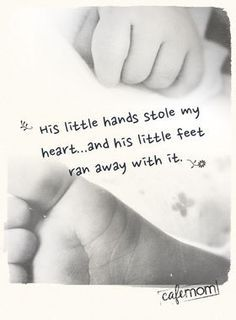 His little  hands stole our heart... and his little  feet ran away with it♡
