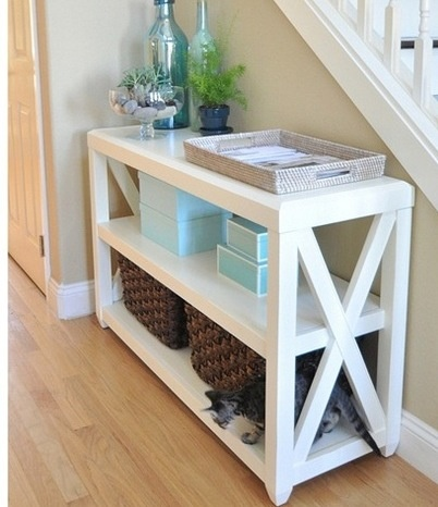 rustic x console table in white