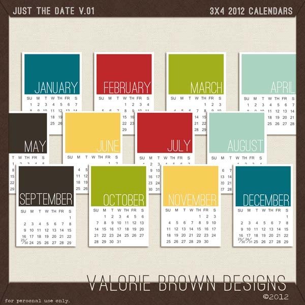 """Free 3x4"""" 2012 calendars.: 2012 Calendar, Projects Life Freebies, 2012 Printable Cards, Journals Cards, Awesome Freebies, Months Cards, Free Printable, Android App, Free 3X4"""