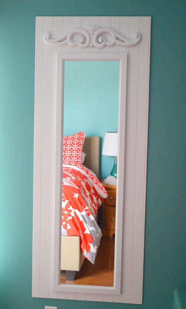 DIY:: Shabby White Upcycled Full Length Mirror.  Paint plain mirror and place on larger wood and add a fancy piece of wood!