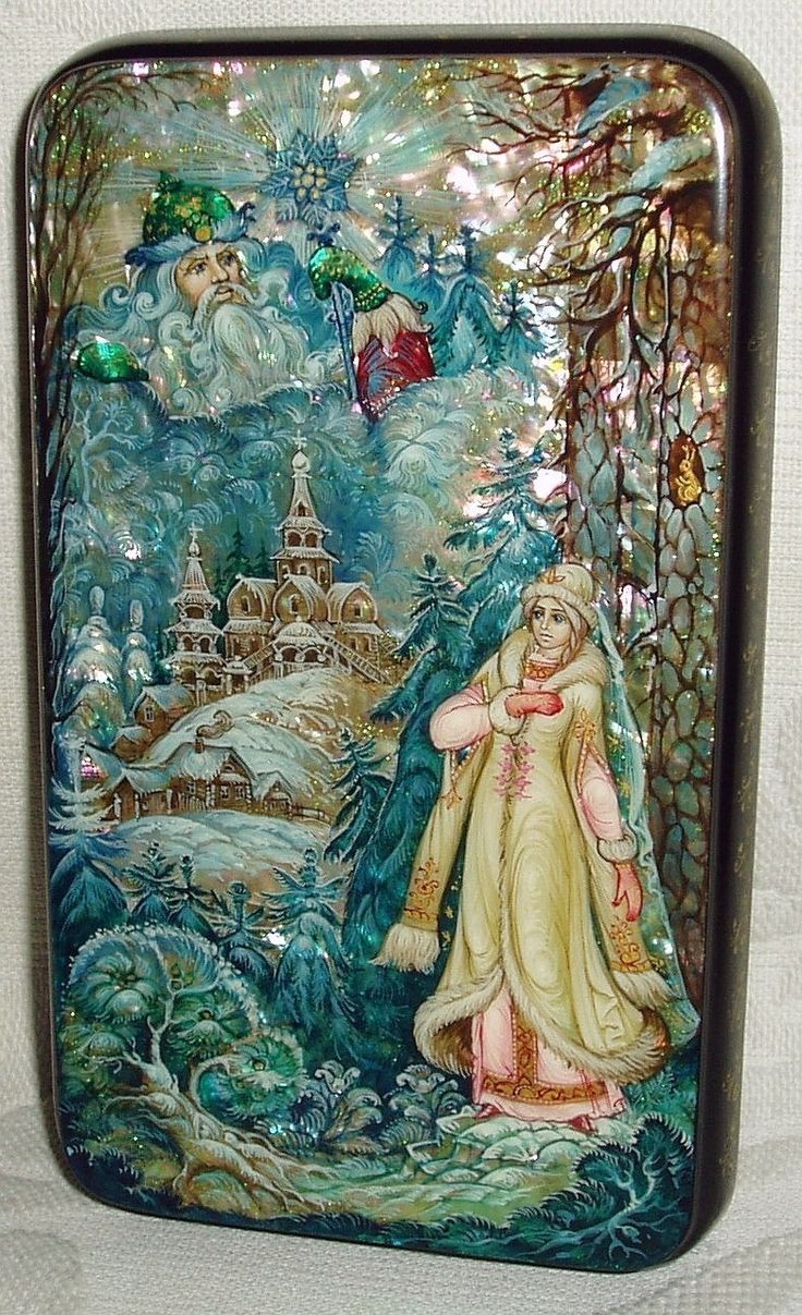 Russian Lacquer Box Kholui Snow Maiden Miniature Hand Painted   eBay