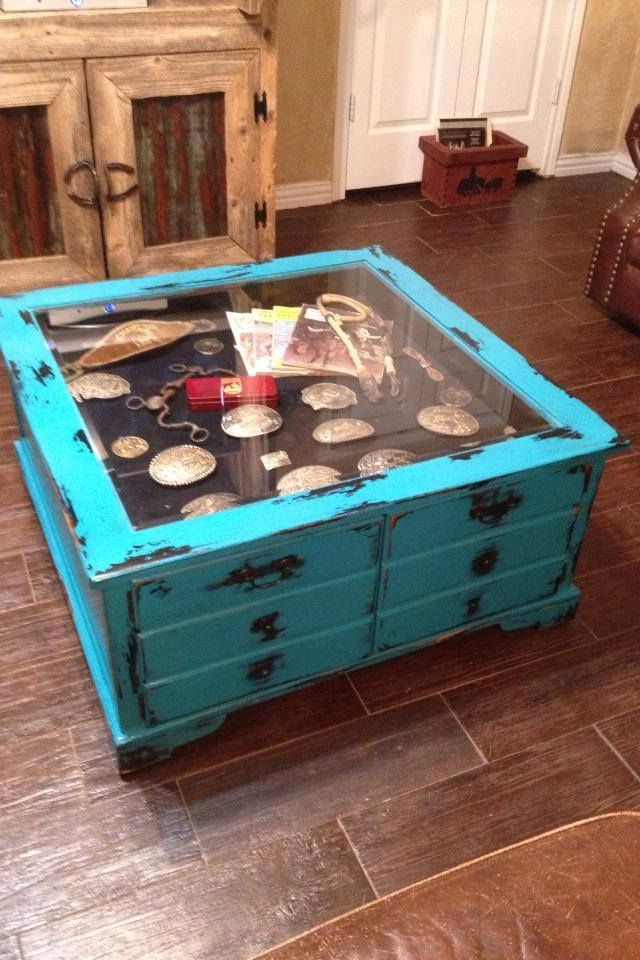 Distressed shadow box coffee table with belt buckles and tack! (Fill with old black and white family photos and momentos) #Westerndecor