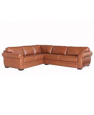 Carmine Leather Sectional Sofa 2 Piece Sofa And