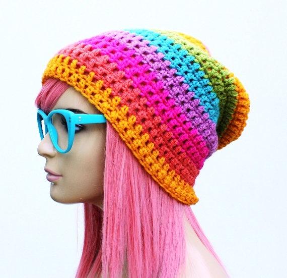 Crochet Slouch Rainbow Beanie on Etsy