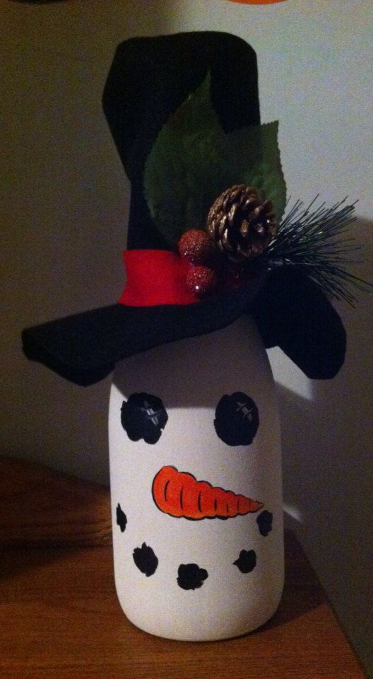 Snowman wine bottle on Etsy, $20.00