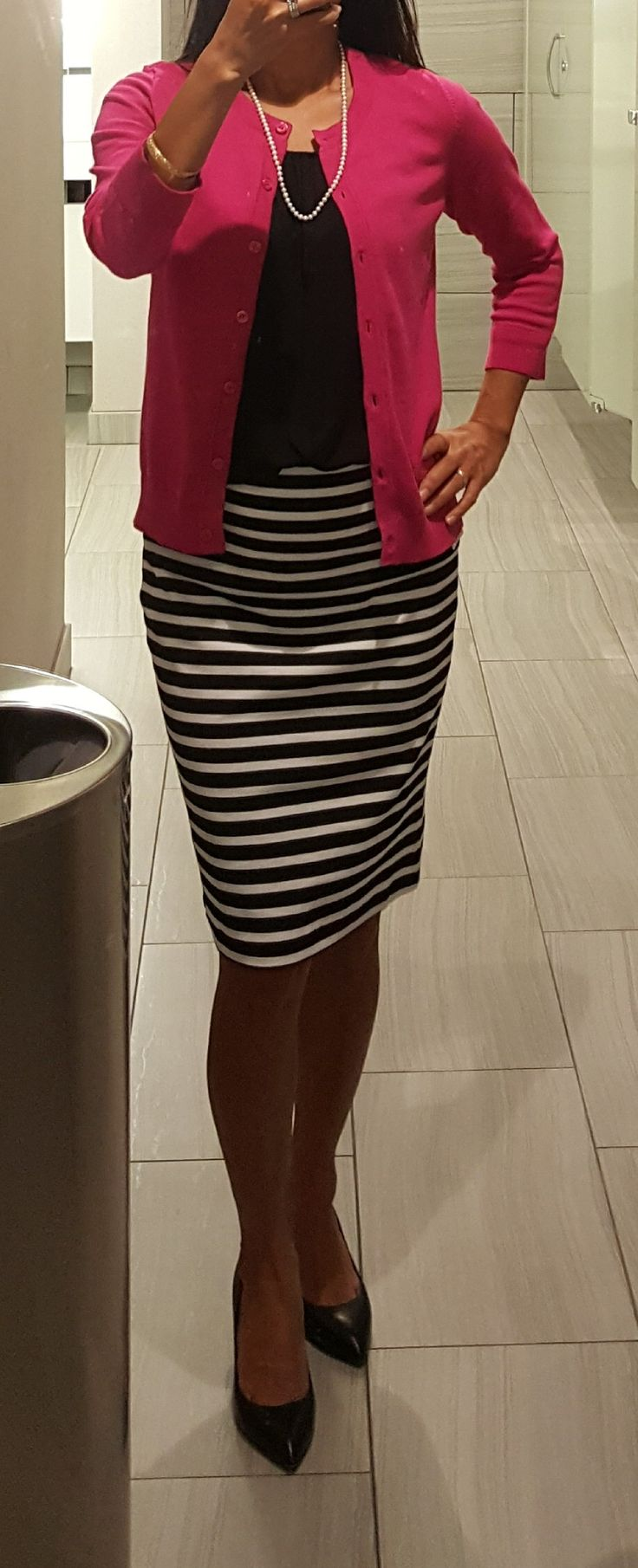 Cardi: Express, Top: Loft,  Skirt: Old Navy,  Heels: Vince Camuto