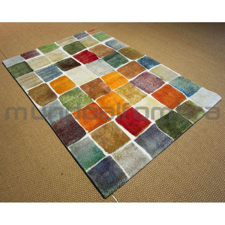 alfombra moderna de cuadros de colores irregulares en tonos verdes rojos naranjas beig