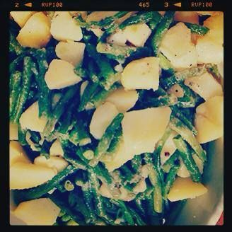Insalata di Patate e Fagiolini, this potato and string bean salad is super easy to prepare. Boil your potatoes until fork tender and blanch your beans (I like mine to be crisp). In a boil season the potatoes and beans with olive oil, 1-2 lemons, zest and juice, salt, pepper & basil leaves chopped... All QB!