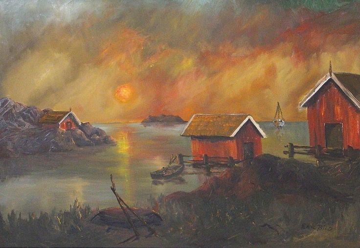 ERIC BILD. olja på duk, solnedgång över skärgården, signerad.
