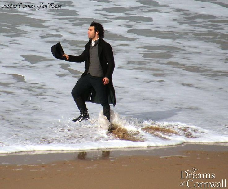 """Thank you to @dreams_cornwall for sharing this fab new image of Aidan filming in Cornwall today, with the comment """"Live from Holywell Bay,filming for next series of #Poldark!"""