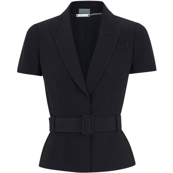 Alexander McQueen Belted Crepe Jacket ($1,705) ❤ liked on Polyvore featuring outerwear, jackets, black, crepe jacket, waist belt, black waist belt, alexander mcqueen and black jacket