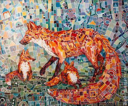 """Акварельная картина """"Лиса"""" в необычной """"мозаичной"""" технике — работа дня на Ярмарке Мастеров"""