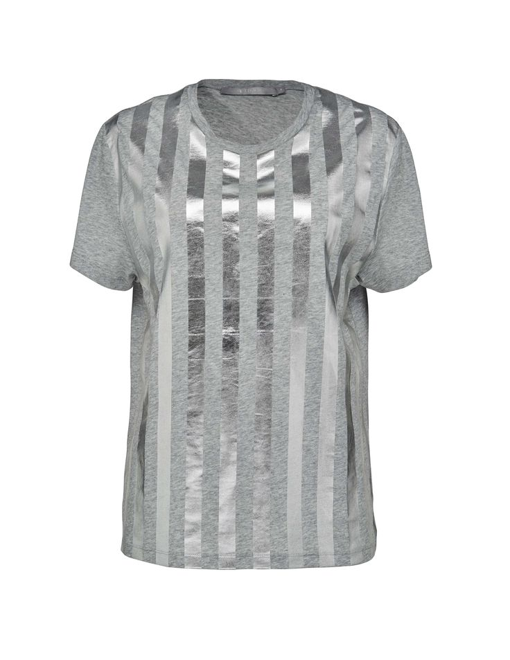 Elsha t-shirt - Women's t-shirt in cotton-blend with metallic stripes at front. Features round neckline with ribbed trim and twin stitching at cuff and bottom hem. Regular fit.