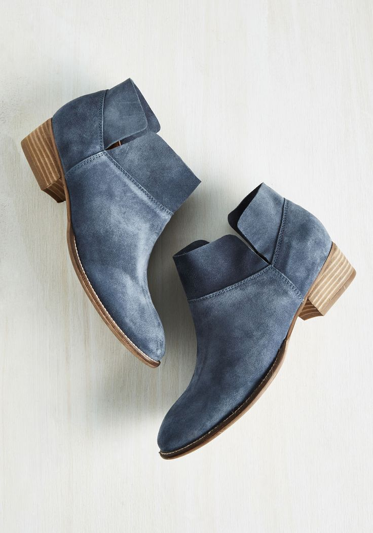 Snare Suede Bootie in Dusty Blue. Capture the attention of each passerby by strutting down the street in these stylish booties. #blue #modcloth