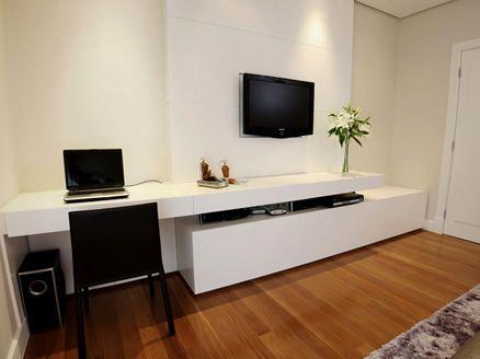 Master bedroomTV unit with extended desk in  white