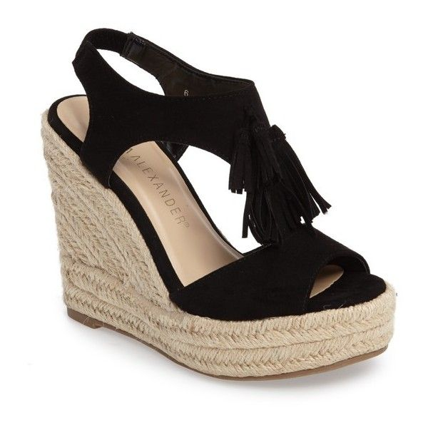 Women's Athena Alexander Jenissa Wedge Espradrille Sandal ($73) ❤ liked on Polyvore featuring shoes, sandals, black faux suede, wedge shoes, athena alexander sandals, wedge heel sandals, platform wedge sandals and black espadrille sandals