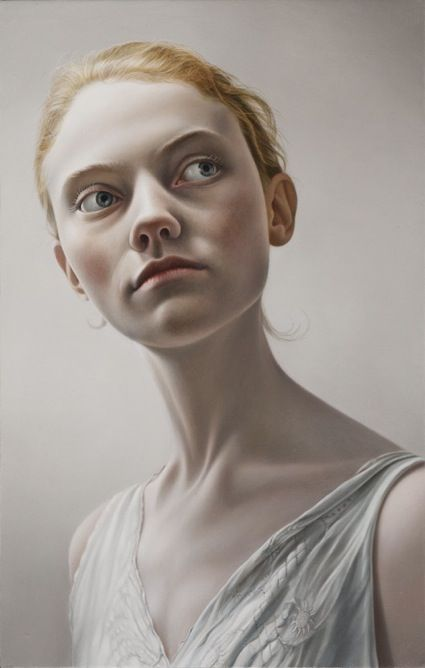 'Untitled' - Mary Jane Ansell, oil on panel {contemporary artist blond female head large eyes décolletage long neck woman face portrait painting} Disturbed !!