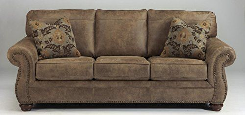 Dramatically transform your living space with the rustic look of weathered leather you love—at a fraction of the cost. That's the beauty of this faux leather sofa. Washed in earthy Southwestern tones, with generous back and seating support and jumbo window-pane stitching, it envelops you in com... more details available at https://furniture.bestselleroutlets.com/living-room-furniture/sofas-couches/product-review-for-ashley-furniture-signature-design-larkinhurst-sofa-conte
