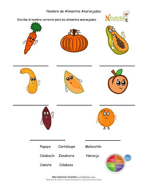 Nombra las frutas y vegetales de color naranja