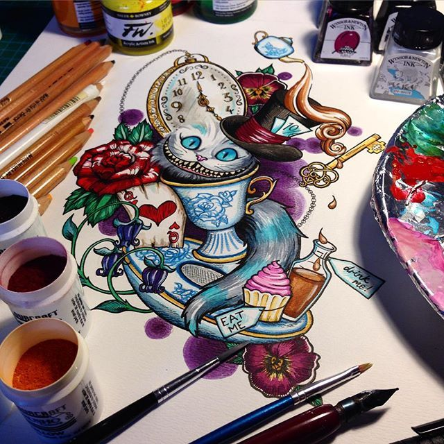 Another Alice in Wonderland neo traditional tattoo design for a lovely lady. Really enjoyed making this one!