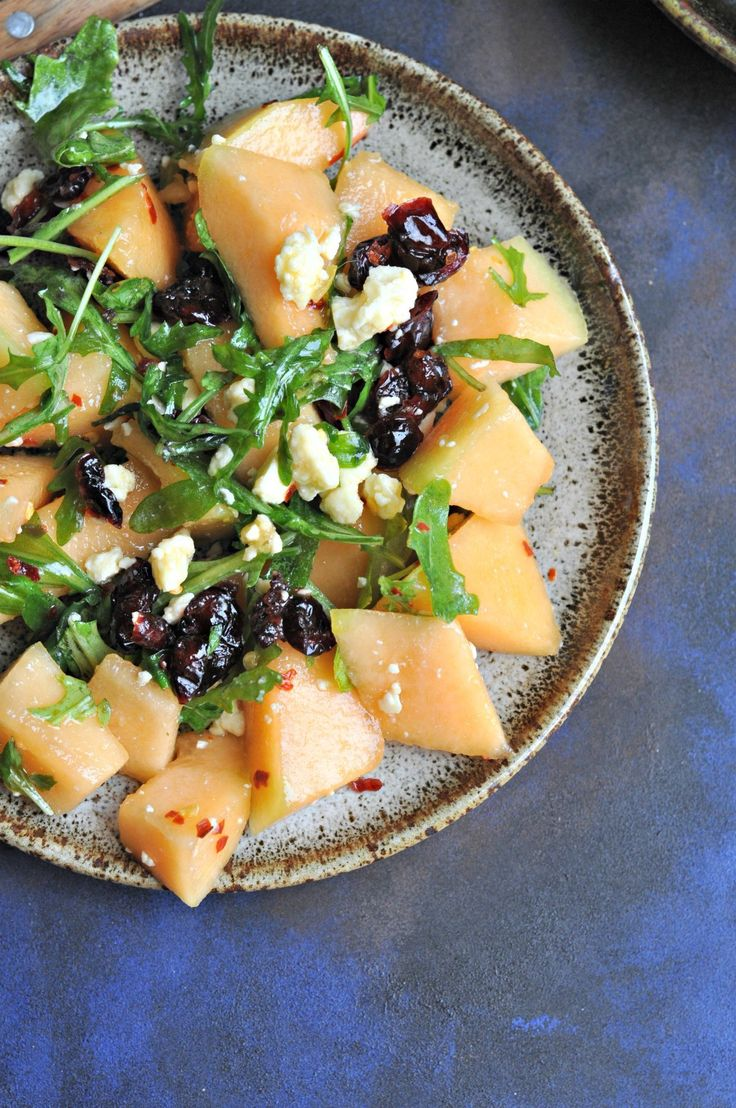 Musk Melon Salad with Cranberries & Feta Cheese has all my favourite ingredients in it. It spells summer in such a happy way. It is a salad you will be making again and again all through the summer.
