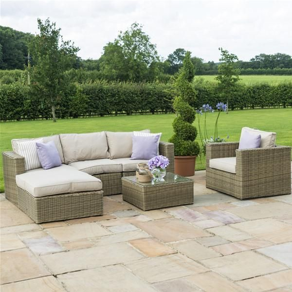Maze Rattan Winchester Chaise Corner Garden Sofa Set with Chair